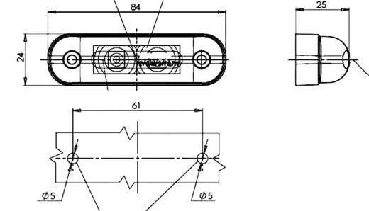 LED Umriss-Markierungsleuchte seitlich 12 V, 24 V Weiß SecoRüt Klarglas