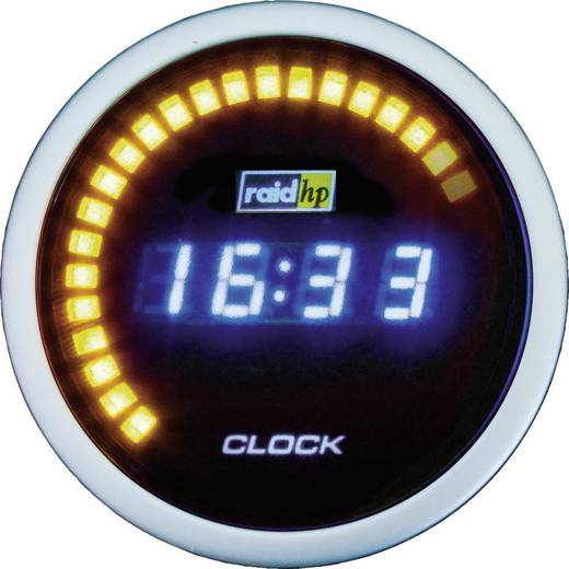 raid hp 660510 Kfz Einbauinstrument Quarz-Uhr digital NightFlight Digital Blue Blau, Weiß 52 mm