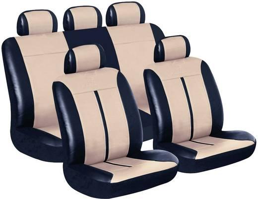 Sitzbezug 11teilig Eufab 28289 Buffalo Kunstleder Schwarz, Beige Rücksitz, Fahrersitz, Beifahrersitz