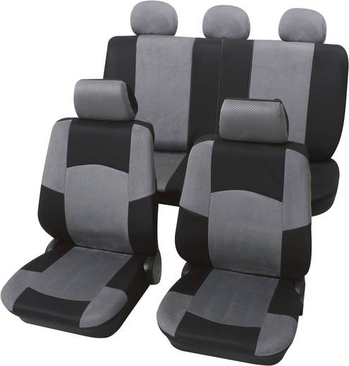 Petex 24274918 Classic Sitzbezug 17teilig Polyester Schwarz, Grau Fahrersitz, Beifahrersitz, Rücksitz