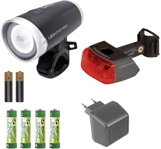 fahrradbeleuchtung set sigma lightster cuberider ll led akkubetrieben batteriebetrieben. Black Bedroom Furniture Sets. Home Design Ideas