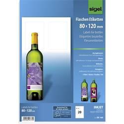 Image of Sigel DE160 80 x 120 mm Papier Weiß 20 St. Permanent Flaschenetiketten