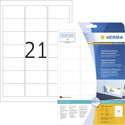 Herma 5074 Etiketten (A4) 63.5 x 38.1 mm Papier Weiß 525 St. Wiederablösbar Universal-Etiketten, Adress-Etiketten Tinte,