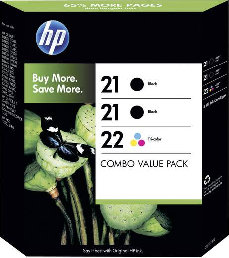 HP Tinte 21, 22 Original Kombi-Pack Schwarz, Cyan, Magenta, Gelb SD400AE