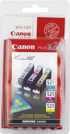 Canon Tinte CLI-521 CMY Original Kombi-Pack Cyan, Magenta, Gelb 2934B010