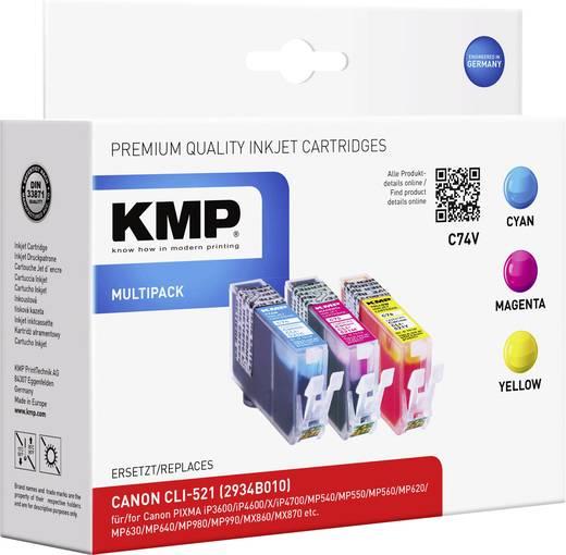KMP Tinte ersetzt Canon CLI-521 Kompatibel Kombi-Pack Cyan, Magenta, Gelb C74V 1510,0005