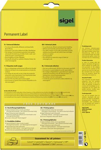Sigel LA181 Etiketten (A4) 210 x 297 mm Papier Weiß 25 St. Permanent Universal-Etiketten, Versand-Etiketten Tinte, Laser, Kopie