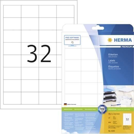 Herma 4200 Etiketten (A4) 48.3 x 33.8 mm Papier Weiß 800 St. Permanent Universal-Etiketten Tinte, Laser, Kopie