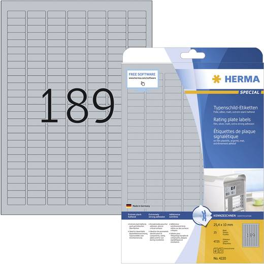 Herma 4220 Etiketten (A4) 25 x 10 mm Polyester-Folie Silber 4725 St. Permanent Typenschild-Etiketten Laser, Kopie