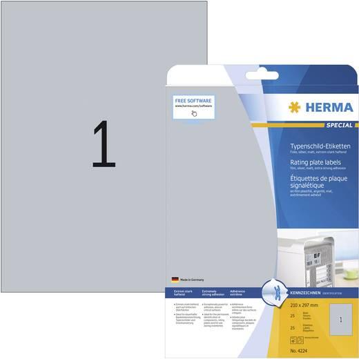 Herma 4224 Etiketten (A4) 210 x 297 mm Polyester-Folie Silber 25 St. Permanent Typenschild-Etiketten Laser, Kopie