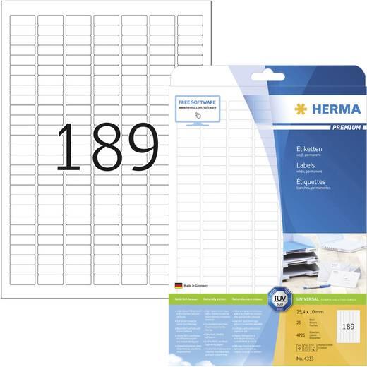 Herma 4333 Etiketten (A4) 25.4 x 10 mm Papier Weiß 4725 St. Permanent Universal-Etiketten Tinte, Laser, Kopie