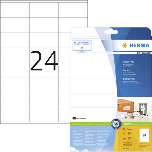 Herma 4360 Etiketten (A4) 70 x 36 mm Papier Weiß 600 St. Permanent Universal-Etiketten, Adress-Etiketten Tinte, Laser, Kopie