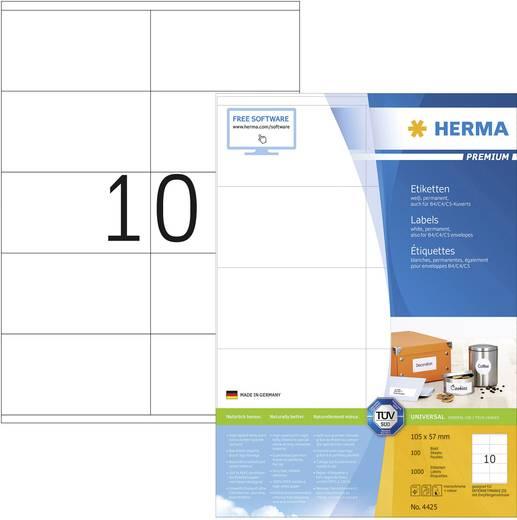 Herma 4425 Etiketten (A4) 105 x 57 mm Papier Weiß 1000 St. Permanent Universal-Etiketten Tinte, Laser, Kopie
