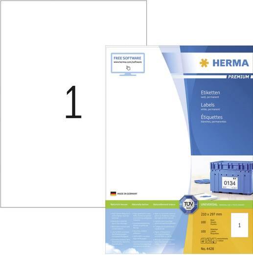 Herma 4428 Etiketten (A4) 210 x 297 mm Papier Weiß 100 St. Permanent Universal-Etiketten, Versand-Etiketten Tinte, Laser, Kopie