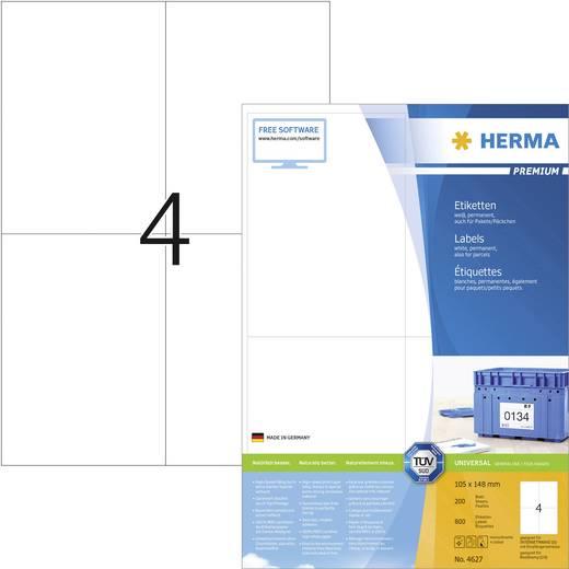 Herma 4627 Etiketten (A4) 105 x 148 mm Papier Weiß 800 St. Permanent Universal-Etiketten, Frankier-Etiketten Tinte, Lase