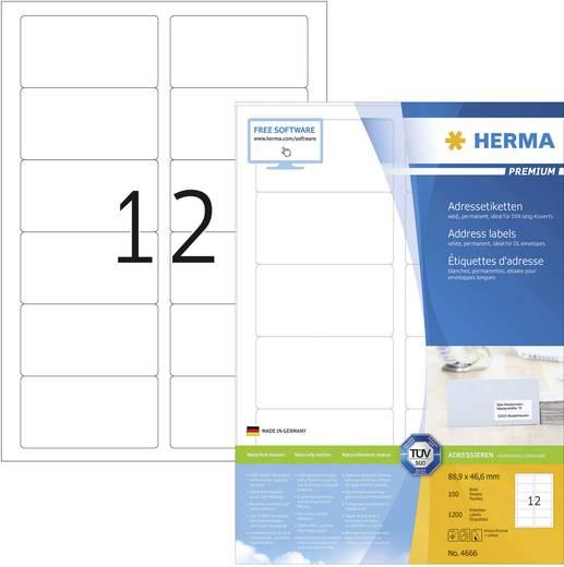 Herma 4666 Etiketten (A4) 88.9 x 46.6 mm Papier Weiß 1200 St. Permanent Universal-Etiketten, Adress-Etiketten Tinte, Las