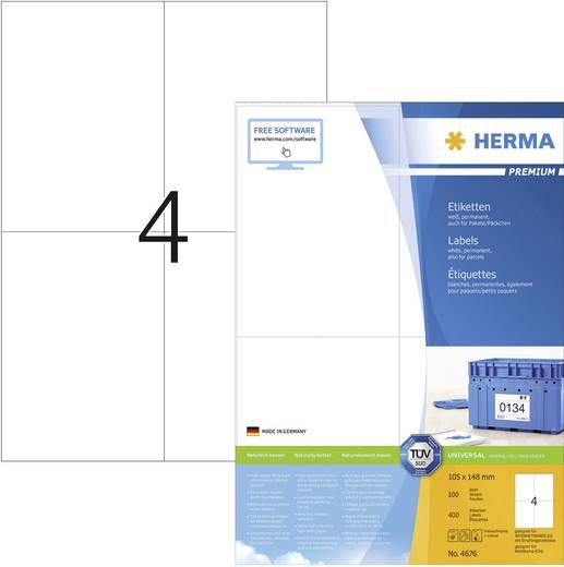 Herma 4676 Etiketten (A4) 105 x 148 mm Papier Weiß 400 St. Permanent Universal-Etiketten, Frankier-Etiketten Tinte, Lase
