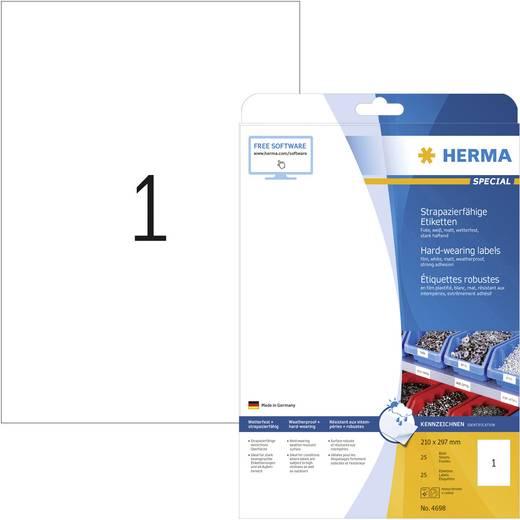 Herma 4698 Etiketten (A4) 210 x 297 mm Polyester-Folie Weiß 25 St. Permanent Universal-Etiketten, Wetterfeste Etiketten Laser, Kopie