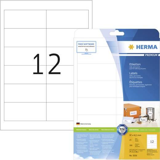 Herma 5056 Etiketten (A4) 97 x 42.3 mm Papier Weiß 300 St. Permanent Universal-Etiketten, Frankier-Etiketten Tinte, Laser, Kopie