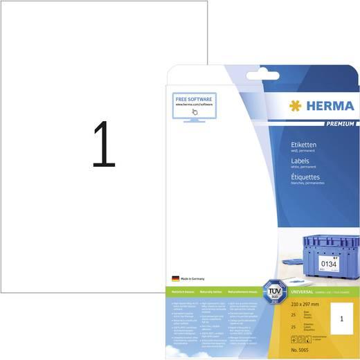 Herma 5065 Etiketten (A4) 210 x 297 mm Papier Weiß 25 St. Permanent Universal-Etiketten, Versand-Etiketten Tinte, Laser, Kopie