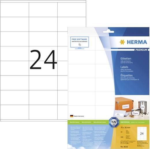Herma 8638 Etiketten (A4) 70 x 36 mm Papier Weiß 240 St. Permanent Universal-Etiketten, Frankier-Etiketten Tinte, Laser, Kopie
