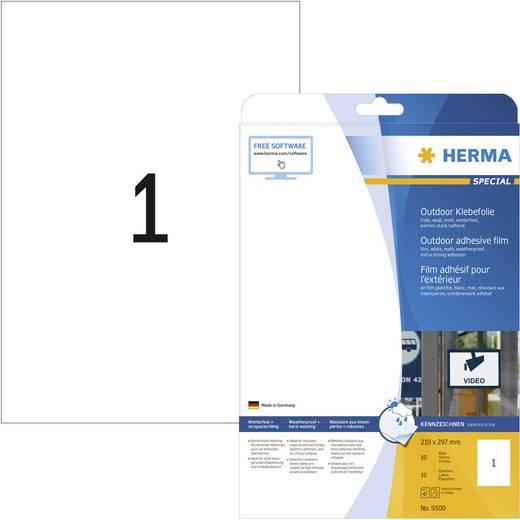 Herma 9500 Etiketten 210 x 297 mm Polyethylenfolie Weiß 10 St. Permanent Universal-Etiketten, Wetterfeste Etiketten