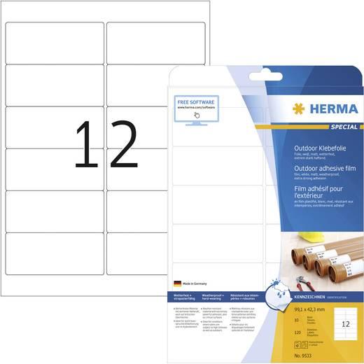 Herma 9533 Etiketten (A4) 99.1 x 42.3 mm Polyethylenfolie Weiß 120 St. Permanent Universal-Etiketten, Wetterfeste Etiketten Laser, Kopie