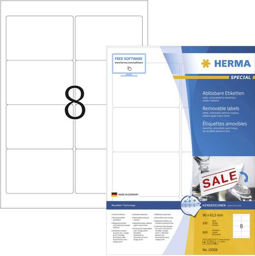 Herma 10308 Etiketten (A4) 96 x 63.5 mm Papier Weiß 800 St. Wiederablösbar Universal-Etiketten Tinte, Laser, Kopie