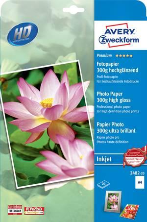 AVERY Zweckform BIG PACK Inkjet Foto Papier DIN A4 250g//qm weiß 2 x 20 Blatt