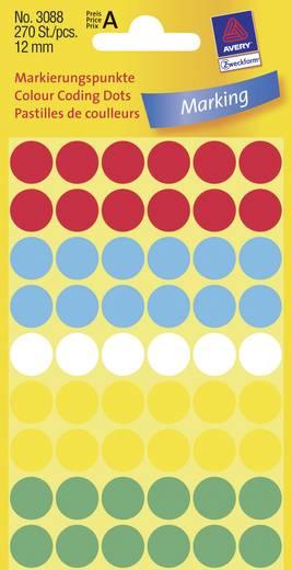 Avery-Zweckform 3088 Etiketten (Handbeschriftung) Ø 12 mm Papier Rot, Blau, Weiß, Gelb, Grün 270 St. Permanent Markierun
