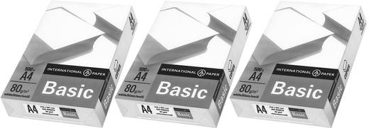 Universal Druckerpapier International Paper IP Basic 88070920 3er Set DIN A4 80 g/m² 1500 Blatt Weiß