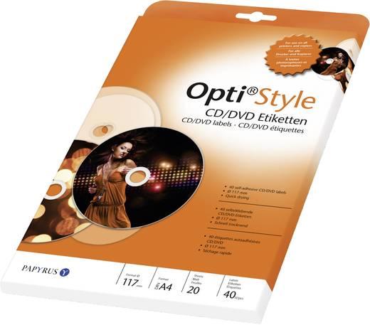 CD-Etiketten Papyrus Etiquettes pour CD Opti Style XXL 8081989 Tinte, Laser Etiketten-Ø 117 mm 40 St. Weiß