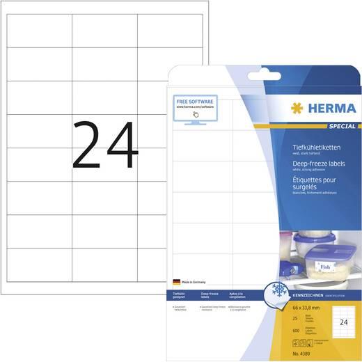 Herma 4389 Etiketten (A4) 66 x 33.8 mm Papier Weiß 600 St. Permanent Tiefkühl-Etiketten Tinte, Laser, Kopie