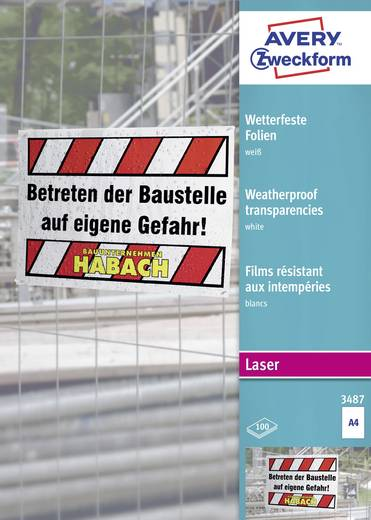 Laser Folie wetterfest Avery-Zweckform 3487 3487 DIN A4 Weiß 100 St.