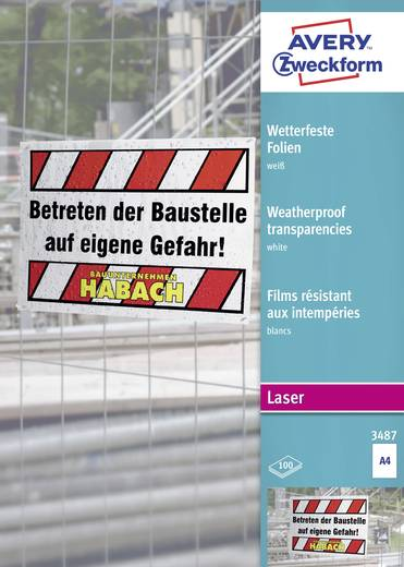 Laser Folie wetterfest Avery-Zweckform Wetterfeste Folien A4 3487 DIN A4 Bedruckbar, Wetterfest, Optimiert für Laser 100