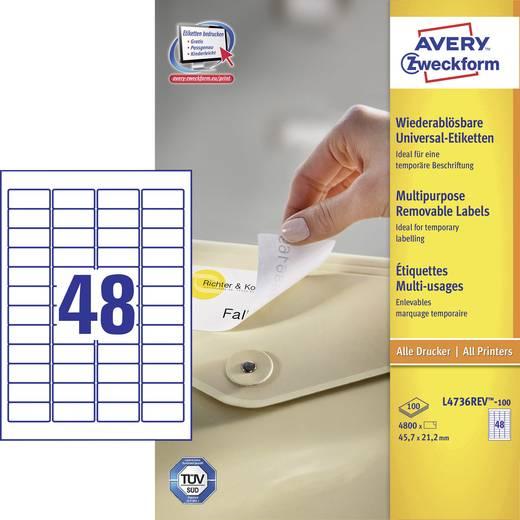Avery-Zweckform L4736REV-100 Etiketten (A4) 45.7 x 21.2 mm Papier Weiß 4800 St. Wiederablösbar Universal-Etiketten Tinte