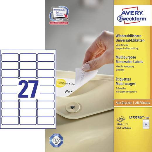 Avery-Zweckform L4737REV-100 Etiketten (A4) 63.5 x 29.6 mm Papier Weiß 2700 St. Wiederablösbar Universal-Etiketten Tinte, Laser, Kopie