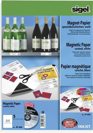 Tintenstrahl Magnetpapier Sigel Magnet-Papier spezialbeschichtet IP440 DIN A4 Matt, Magnetische Rückseite, Optimiert für Tintenstrahl 5 Blatt