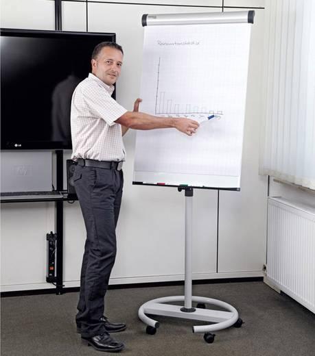 MAUL Flipchart Mobil Solid Plus, Rundfuß, 2 Papierhalter, höhenverstellbar, magnethaftend, silber, 6372882