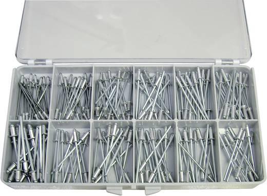DIN 7337 ALU/STZN 190tlg. Blindnieten-Sortiment Inhalt 1 Set 2f. Lieferumfang 190 Blindnieten von 2,4 - 5 mm wohlsortier