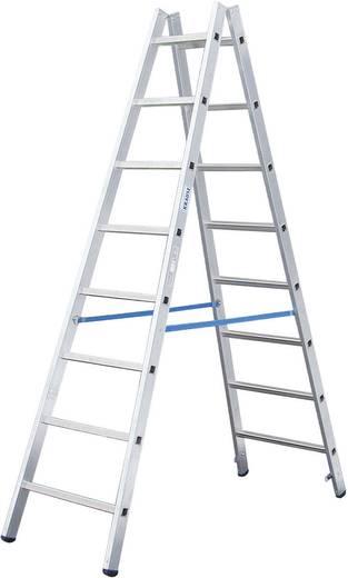 Aluminium Stufen-Doppelleiter Arbeitshöhe (max.): 6.25 m Krause STABILO® Sprossen-DoppelLeiter 801753 Silber 22.5 kg