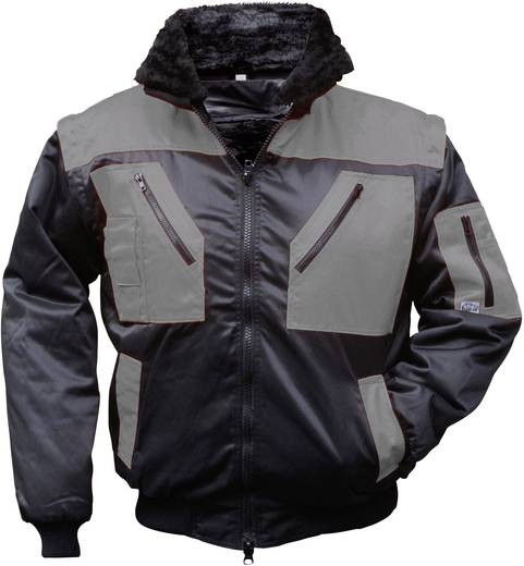 Griffy 4206 4-in-1 Multifunktions-Pilotjacke mit Warneffekt Schwarz, Grau XXL