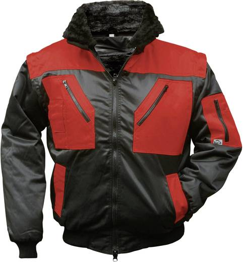 Griffy 4207 4-in-1 Multifunktions-Pilotjacke mit Warneffekt Schwarz, Rot L
