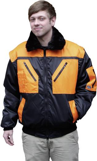 Griffy 4208 4-in-1 Multifunktions-Pilotjacke mit Warneffekt Schwarz, Orange L