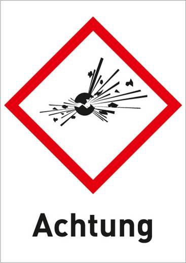 Gefahrstoffetikett Explosionsgefährlich (GHS 01) mit Text: Achtung Folie selbstklebend 3001R37