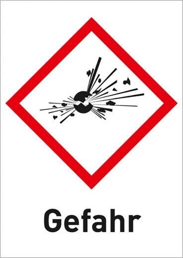 Gefahrstoffetikett Explosionsgefährlich (GHS 01) mit Text: Gefahr Folie selbstklebend 3002R37