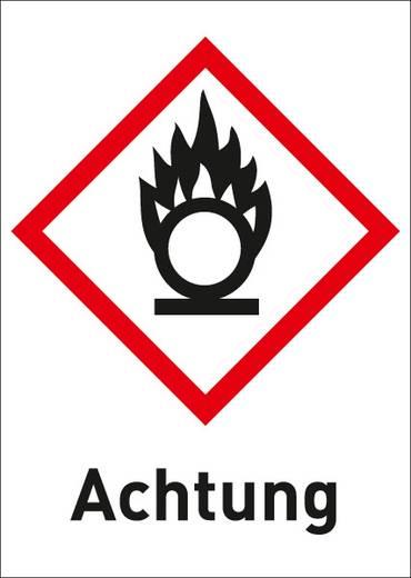Gefahrstoffetikett Brandfördernd (GHS 03) mit Text: Achtung 3005R37 (B x H) 26 mm x 37 mm