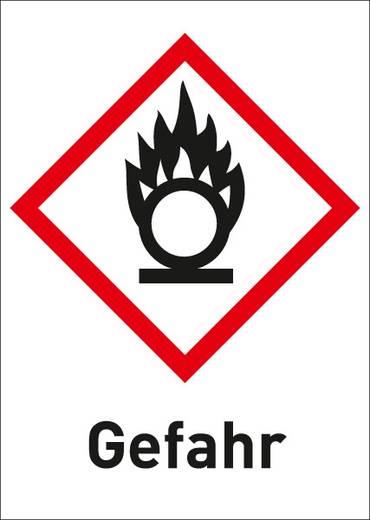 Gefahrstoffetikett Brandfördernd (GHS 03) mit Text: Gefahr 3006R37 (B x H) 26 mm x 37 mm