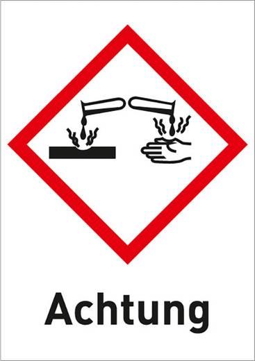 Gefahrstoffetikett Ätzend (GHS 05) mit Text: Achtung Folie selbstklebend 3007R37