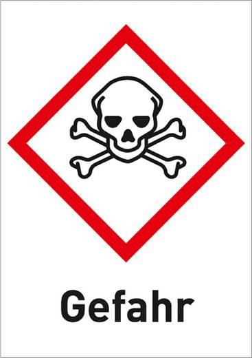 Gefahrstoffetikett Giftig (GHS 06) mit Text: Gefahr Folie selbstklebend 3008R37